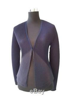 Issey Miyake Fete woman blue long sleeve pleated cardigan blazer top L