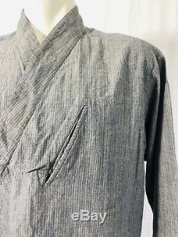Issey Miyake Japanese Samurai Kimono Smock Top Mens Large Gray Long Sleeved