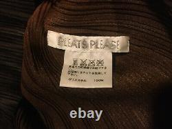 Issey Miyake PLEATS PLEASE ombré (amber-orange-brown) Long Sleeve High Neck Top