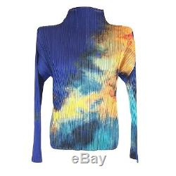 Issey Miyake Pleats Please High Neck Top Long Sleeve Gradient Print Blue Size 3