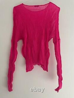 Issey Miyake Pleats Please Shocking Pink Long Sleeve Top One Size