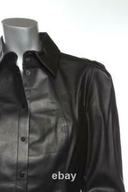 JASON WU Womens Black Leather Snap-Up Long Sleeve Shirt Blouse Top US 10