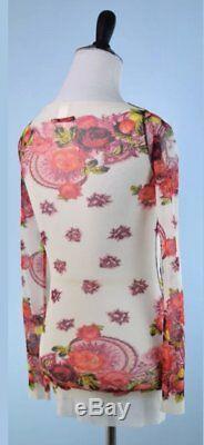 JEAN PAUL GAULTIER Ivory Pink Long Sleeve Mesh Top XS