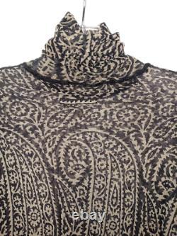 JEAN PAUL GAULTIER Mesh Top Black Paisley on Cream Turtleneck withCrochet