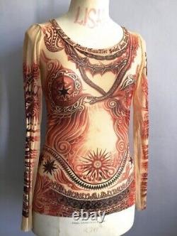JEAN PAUL GAULTIER Tribal Tattoo Print Mesh TOP UNISEX M Vintage Soleil