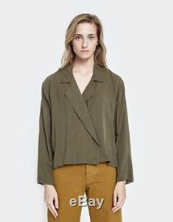 JESSE KAMM NWT Newton Olive Military Green V Neck Button Up Long Sleeve Top XS