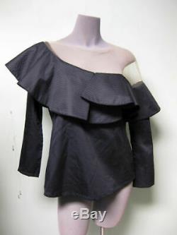 JOHANNA ORTIZ Navy Ruffle Peplum Cotton Mesh One Shoulder VE Long Sleeve Top 2