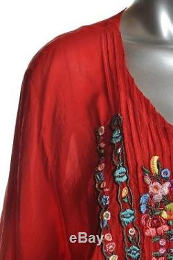 JOHNNY WAS Womens Sz 3X Plus Tunic Top Embroidered Floral Red Long Sleeve