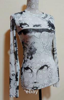 JOHN GALLIANO eyes faces mesh print top, long sleeve sheer T-shirt