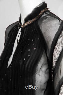 J. MENDEL Black Crinkle Sheer Chiffon Sequin Lace Long Sleeve Blouse Top 4/6