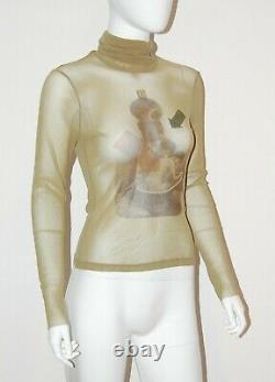 Jean Paul GAULTIER Sheer Mesh Turtleneck Eye and Bathing Woman Top Small