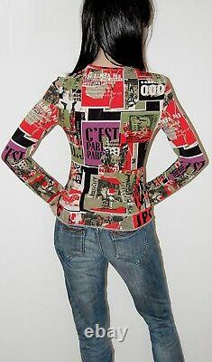 Jean Paul Gaultier Anarchy Punk Club Kid Newspaper Print Top