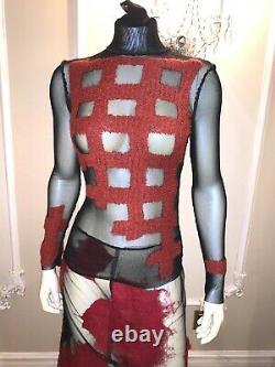 Jean Paul Gaultier MESH Long Sleeve Tops for Women Pleated Sleeve top SIZE