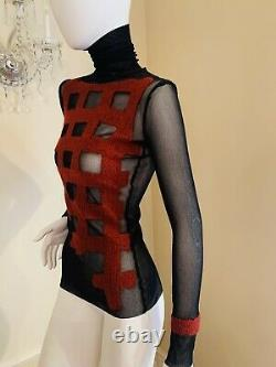 Jean Paul Gaultier MESH Long Sleeve Tops for Women Pleated Sleeve top SIZE M