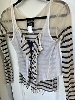 Jean Paul Gaultier Maille Femme Striped Mesh Corset Top Tunic Blouse Sz S