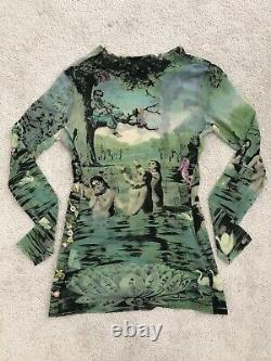 Jean Paul Gaultier Maille Green Bathing Crystal Embroidery Mesh Sheer Top M