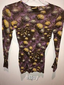 Jean Paul Gaultier Maille Shear Mesh Long Sleeve Print Top Sz M