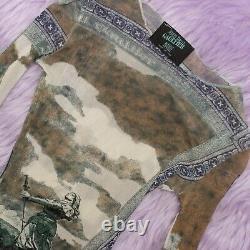 Jean Paul Gaultier Maille Sheer Mesh Printed Green Long Sleeve Top S