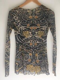 Jean Paul Gaultier Mesh Top Dragon Tattoo Print Sheer Long Sleeve Shirt Asian XS