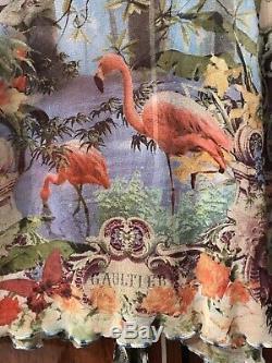 Jean Paul Gaultier Soleil Flamingo Top Blouse Stretch long sleeve size L rare