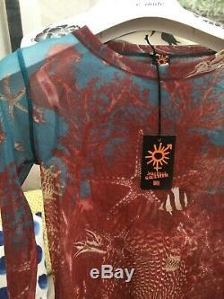 Jean Paul Gaultier Soliel Multicolor Printed Nylon Mesh Long Sleeve Top NWT