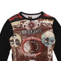 Jean-Paul Gaultier Top Brown Black Multicolor 2000 Print Long Sleeved Size S/M