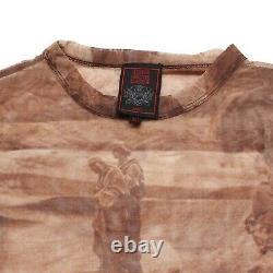 Jean Paul Gaultier Top Brown Long Sleeved Mesh Bedouin Print Size S