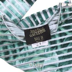 Jean Paul Gaultier Top Green Gargoyle Print 2001 Mesh Sheer Size S