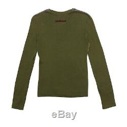 Jean Paul Gaultier Top Green Multicolor Corduroy Long Sleeved Punk Print Size S
