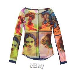 Jean-Paul Gaultier Top Multicolor Mesh Portrait Print Soleil Long Sleeved Size S