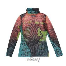 Jean-Paul Gaultier Top Red Green Multicolor Long Sleeved Mesh Roll Neck Size M