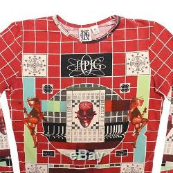 Jean-Paul Gaultier Top Red Multicolor Long Sleeved Test Card Print Size M