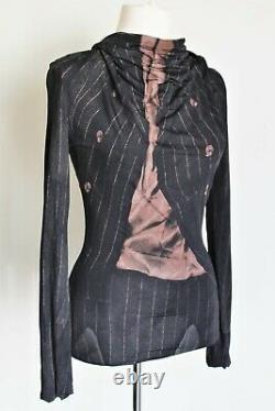 Jean Paul Gaultier Tromp L'oeil Illusion Top Catwalk 04 Pinstripe Suit Uk 8/10