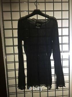 Jean Paul Gaultier Vintage 90s Black Mesh Long Sleeve T-shirt Top Grunge S