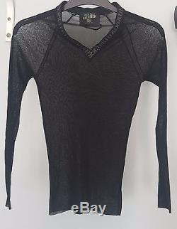 Jean Paul Gaultier Vintage Black V Neck Long Sleeve Sheer Top Size M Used Twice