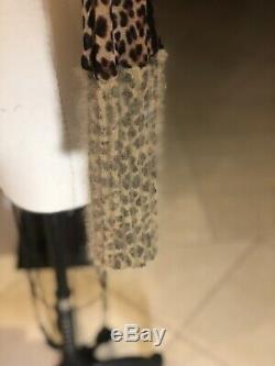 Jean paul gaultier Long Sleeve, Sheer With Wool Trim, Leppart Print Rap Arnd Top