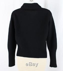 Jil Sander Women's Black Long Sleeve Wool Cardigan Sweater Top Size 38 8