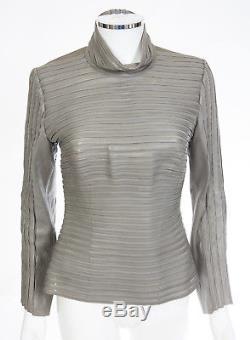 Jitrois Long Sleeve Gray Lambskin Leather Strip Masai Top sz 40 US 8 $3800