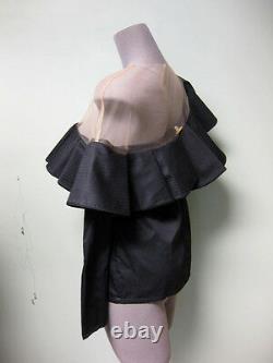 Johanna Ortiz NEW Black Poplin Nude Mesh Lazarote One Shoulder Top Blouse 2