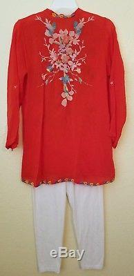 Johnny Was Embroidered Cupra Rayon Long Sleeve Button Up Top