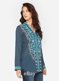 Johnny Was Medium Tylek Blouse Floral Embroiderey Long Sleeve Top Blue Gray M