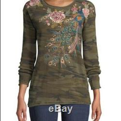Johnny Was Peacock Long Sleeve Thermal Top Size XXLNWT