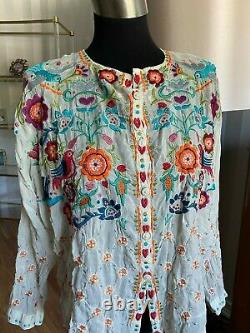 Johnny Was Rayon Embroidered Blouse Top Size SMALL