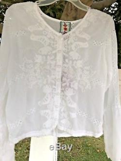 Johnny Was White Eyelet Long Sleeve Cage Top size X Draw String Waist NWT