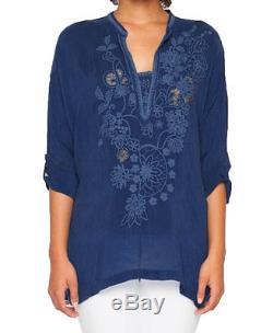 Johnny Was Women's Blue Lusana Long Sleeve Embroidered Blouse Top C89649 Boho