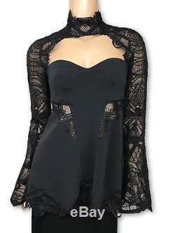 Jonathan Simkhai Black Lace Sleeve Top Blouse New Long Sleeve High Neck $695