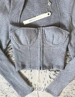 Jonathan Simkhai Standard Ribbed Bustier Crop Top, Sz S Grey Nwt