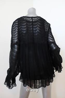 Jonathan Simkhai Tie Neck Blouse Black Lace & Silk Size Medium Long Sleeve Top