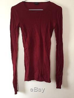 Joseph Dark Red Ribbed Cashair Long-sleeved Top