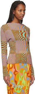 Julia Heuer NEW 1 Size Stretchy Shibori Illusional Plisse Pleated Print Top Lee